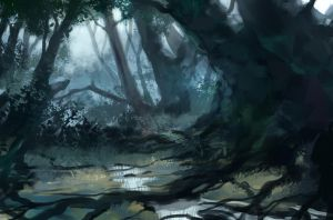 Blue jungle sketch by JordyLakiere