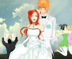 Happy newly-married couple by Dgesika