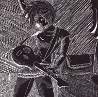 Guitar Hero on Scratchboard by Youkos-wolfpup326