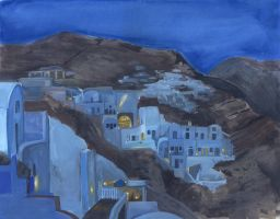 Oia at Dusk by Jadiekins