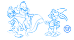 Buster, Plucky, and Fifi (sketch 1) by Solratic