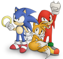 Classic Sonic, Tails and Knuckles by esonic64