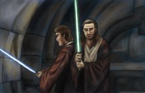 Qui-Gon and Obi-Wan by TrollkaRuby