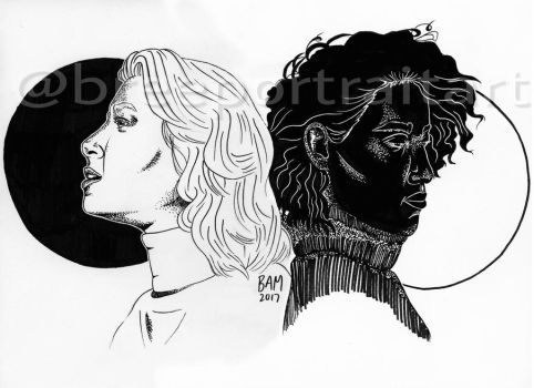 Positive and Negative Space (Ink 2017) by breeportraitart