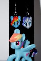 Rainbow Dash and Rarity Earrings by purpleyoshi1