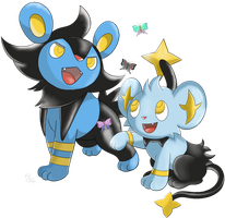 Pokemon - Luxio and Shinx by SwanLullaby