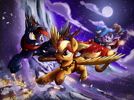 Commission - Hearth's Warming ride by Ruhisu