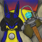 Lucario and Sir Aarons Staff 2014 by dragonfire53511