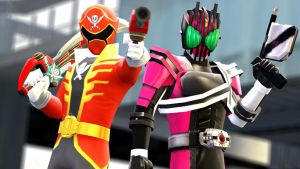 Decade and Gokai Red by dumbass333