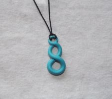 Blue infinity loop necklace by MeticulousBlue