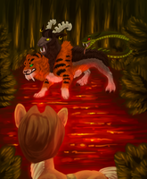 Confrontation in the Flame Geyser Swamp by Wolframclaws
