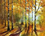 Autumn Birches by Leonid Afremov by Leonidafremov