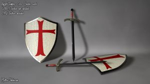 Templar Cross Shield OBJ C4D by pmattiasp