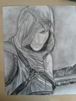Assassin's Creed Drawing Charcoal by Riissie