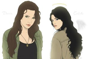 Supernatural - Deanna and Castielle by Kumagorochan