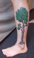 Calf tree tattoo by adavesseth