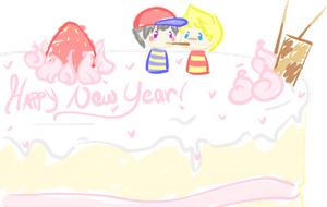 New Years Cake for Ness and Lucas by MemoriiMakiko