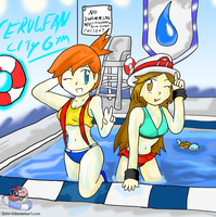 Misty and Leaf: Summer in Cerulean Gym by Xero-J
