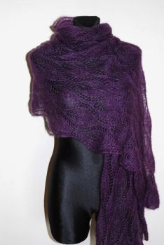 Purple hand knit lace shawl with glass beads by NitkaAG