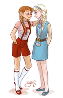 Elsa and Anna in 60's clothes 2 by Yamino