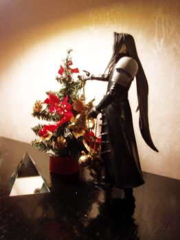 Sephiroth and Christmas tree by namelessstar
