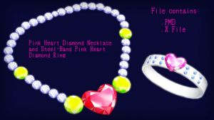 Pink Heart Diamond Necklace and Steel-Band Ring DL by swiftcat-mooshi