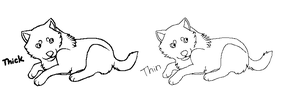 Wolf Pup Lineart Remake by machinewolf2