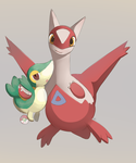 Latias and Snivy Plush by HappyCrumble