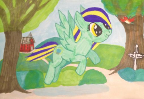 Lucky Spark flying by lemonthecombustible