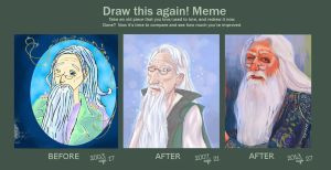 Draw this again: Dumbledore 2003 - 2013 by chocolatejunkie