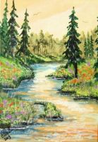 ACEO Wandering Stream #3 by annieoakley64