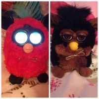 Which Furby wore it better?: gold Bow tie by bieber90pink