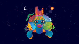 Space Turtle and a World by FragOcon