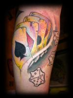 Cards and dices tattoo in progress by jerrrroen