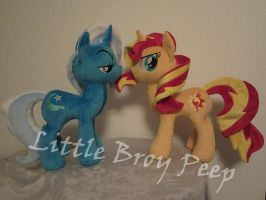 mlp Trixie and Sunset Shimmer plush (commission) by Little-Broy-Peep
