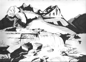 Landscape Drawing by Ackuroon