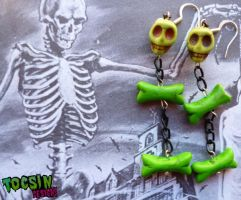 SKULL AND BONES ZOMBIE EARRINGS by TocsinDesigns