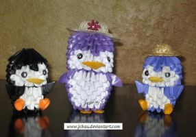 3D Origami Penguin Family by jchau