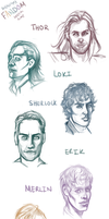 Fandom Faces SketchDump by StarshipSorceress