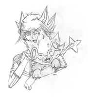 Yusei with Luxray by SakuraSadameWingz