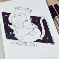 Space Cat - Inktober 14/31 by LonelyFullMoon