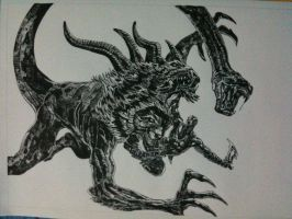 God of War 3 Chimera drawing by Chriluke