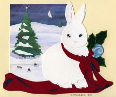 Snow Bunny Papercut by brightling