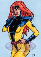 Jean Grey Sketch Card by ElainePerna