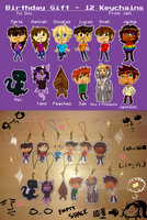 Birthday Gift - 12 Special Keychains by CubedCake
