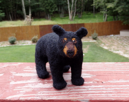 Needle Felted Black Bear Soft Sculpture by DancingVulture