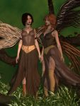 Autumn Fairy Twins Postwork by SilverRiverArt