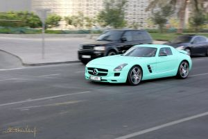 Turquoise Mercedes SLS by ramyk