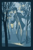 Night in the forest by ThreePoplarTrees