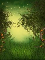 Green Fantasy free background by KlaraKay